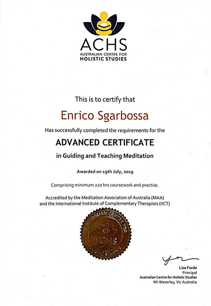 ACHS Certificate - Teaching Meditation